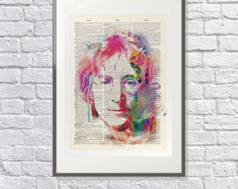 John Lennon Upcycled Dictionary Print: Vintage Art Beatles