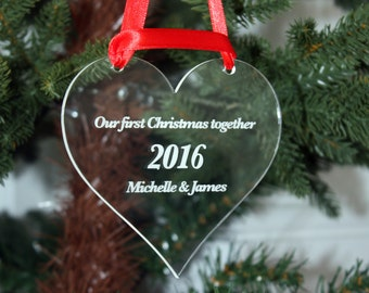 Christmas Tree Decoration Personalised - First Christmas Together, Family Christmas, Babies 1st Christmas. Add ANY WORDING!