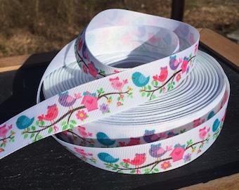 Flower Ribbon, Summer Ribbon, Bird Ribbon, Grosgrain Ribbon, Floral Ribbon