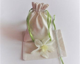 10 Cotton Drawstring Bags, Wedding Shower Bags, Favor Pouches,  Muslin Bags With Light Green Satin Tape, Size 3x4 inch