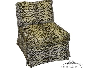 Quality Cheetah Upholstered Slipper Lounge Chair By Sherrill