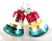2 Vintage Shiny Brite Christmas Ornaments - Small Red and Green Striped Bell Ornaments