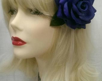 Blue velvet rose with green leaves hair clip