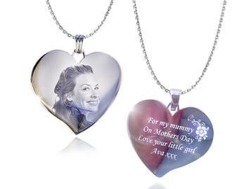 Stainless Steel Heart Pendant Necklace Engraved Photo & Text - Unique Gift