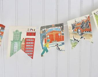 Vintage Johny the Fireman Firetruck Paper Bunting Banner Pennant Garland