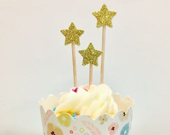 24ct mini star glitter cupcake toppers, star cupcake toppers, mini star picks, twinkle twinkle little start cupcake toppers