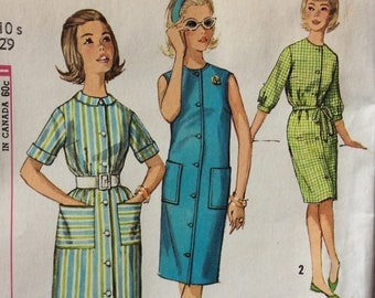 Simplicity 4868 sub-teen girls button-front dress size 10 vintage 1960's sewing pattern   Uncut  Factory folds