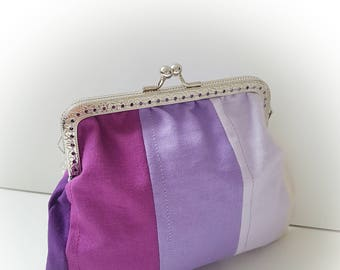 Purse / big coin purse / change purse / coin purse / Kiss lock purse/clasp purse/make up bag/clutch - purple/patchwork/stripe/smart/gift