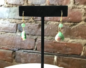 Blue-Green Dangle Earrings with Semi Precious Stones