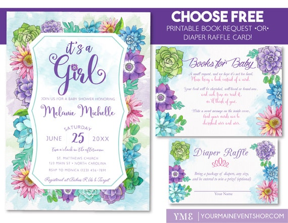 Floral Baby Shower Invitation • Spring Summer Watercolor Baby Shower Invite • Book Request Diaper Raffle Card It's a Girl Floral Printable