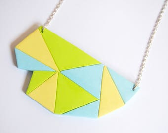 Geometric Necklace Statement Necklace ( pastel necklace triangle necklace polymer clay jewelry yellow necklace lime necklace )