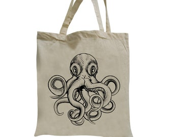Jute bag of Octopus tote bag sea monsters carrying case bag shopper hipster screen printing screen printing tote bag Octopus