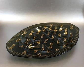 "Large 13"" Vintage Dark Smoked Glass Handmade Divided Art Glass Centerpiece Bowl"