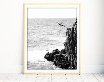 Italy Beach Print, Black and White Print, Beach Photography, Cinque Terre, Italy Beach Art, Italy Wall Art, Wall Decor Beach, Large Wall Art