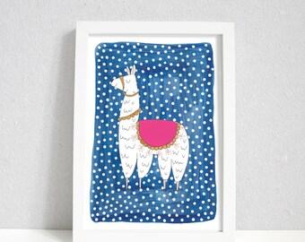 Dotty Llama | Llama print | Llama wall art