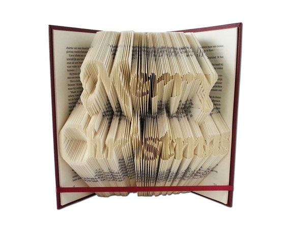 Merry christmas folded book art christmas decorations for Art book decoration ideas