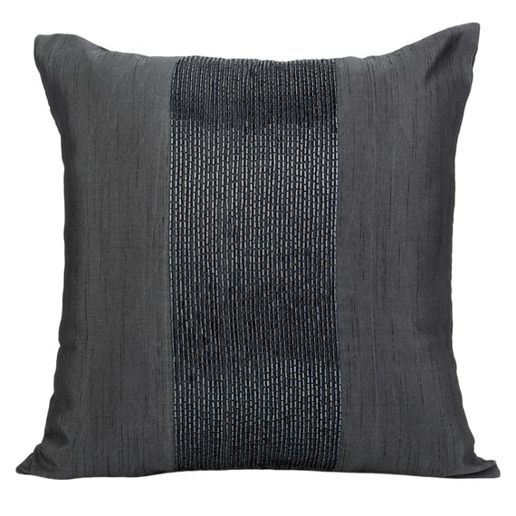 Charcoal Grey Pillow Cover Decorative Pillows Beaded Pillow