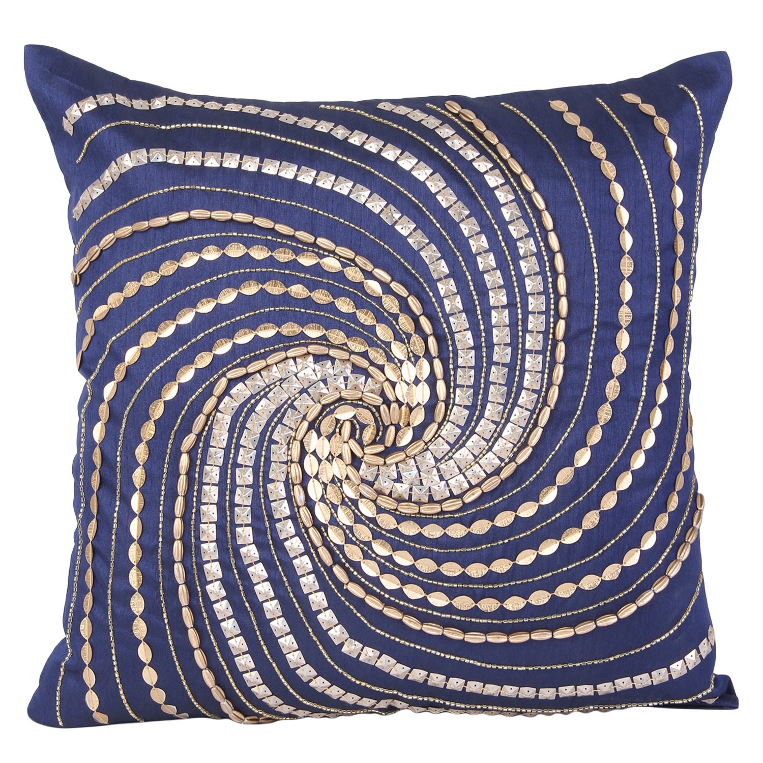 Blue Beaded Throw Pillow : Blue Gold Decorative Pillow Cover Blue Gold Beaded Accent