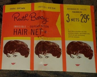 Vintage Ruth Barry Dark Brown Hairnets - Bobbed Style