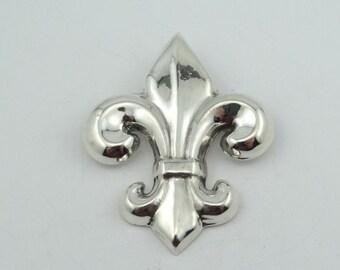 Vintage Lightweight Fluer-De-Lis Sterling Silver Brooch/Pendant/Pearl Clip  #FLUERDELIS-BR2