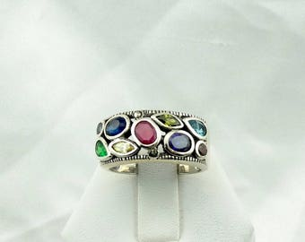 Wont You Take Me To FUNKY TOWN!!!! Vintage Avant Garde Multi-Gem Sterling Silver Ring  Size 8 1/4  #FUNKY-SR4