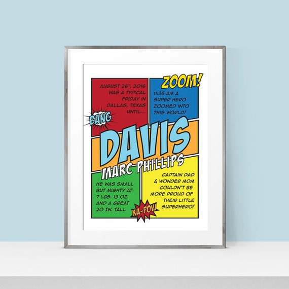 New baby gift birth announcement wall art comic book like this item negle Images