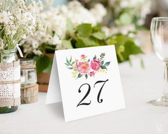 Spring Floral Wedding Table Numbers 1–40 , Printable Wedding Table Numbers, INSTANT DOWNLOAD, Lush Spring