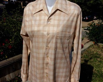 Joel 70's Blouse, Size Sm, Cream, Beige & Tan, Patterened, Pointed Collar
