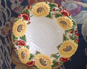"""Fitz & Floyd """"Just Us Chicks"""" Large Yellow Sunflower Serving Bowl 14"""""""