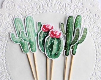 Cactus Cupcake Toppers. Cactus Theme. Fiesta Theme. Mexican Party. Baby Shower. Bridal Shower. Birthday Party. Party Decorations. Desert.