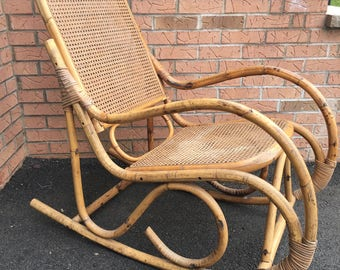 Vintage Mid-Century Bentwood Thonet Rocker Rocking Chair Bamboo