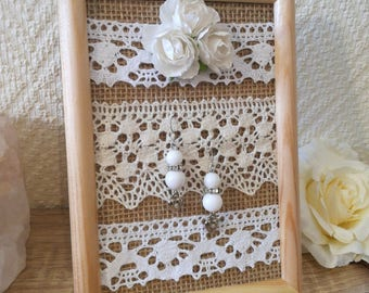 Wedding gift, Earring holder, earring organizer, earring display, Framed earring holder, lace earring holder, Burlap