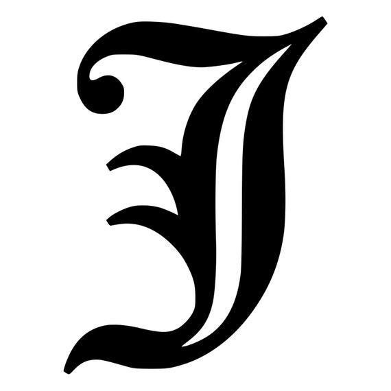 Letter J Old English Lettering Die Cut Decal Car Window Wall