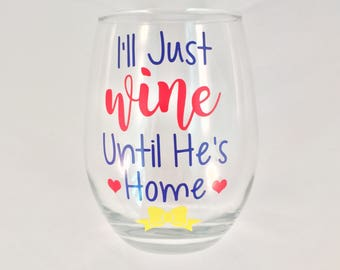 Deployment Stemless Wine Glass // Milso // Military Wife
