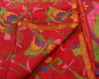 KK Indian Printed Saree Pure Silk Craft Red Fabric Zari Border Sari