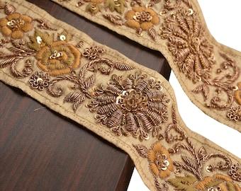 KK Hand Beaded Prom Dress Border 1 Yd Trim Cream Craft Lace Zardozi Sequins