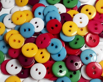 50pcs Assorted Buttons - 9mm Buttons - Sewing Buttons - 2 Hole Buttons - Small Buttons - Buttons For Clothing - B80378