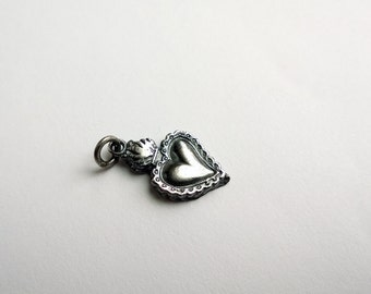 Sacred Heart Charm/ Sacred Heart/ Silver Heart Charm/ Milagros Charm/ Flaming Heart Charm/ Confirmation Gift/ Sacred Heart Pendant/ Charms