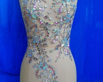 Handmade clear AB colour crystal patches sew on Rhinestones applique with stones sequins beads 60*30cm for dress