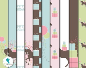 Pony/Horse Birthday Digital Scrapbooking Paper Pack, Buy 2 Get 1 FREE. Instant Download