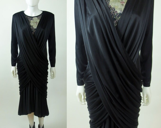 80s SOLD!! stunning Madame Gres inspired draped ruched jersey mermaid fishtail dress