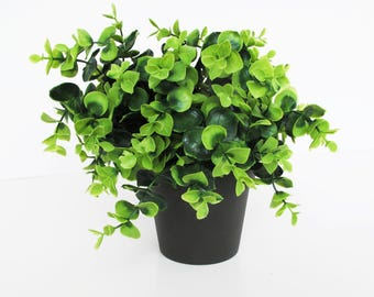 Artificial Boxwood In Pot Hight Quality Supply Green White Simulation Plant Sculpture Planter Vase Composition Home Decor Craft Indoor Gift