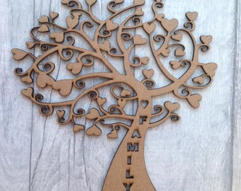 5x Laser cut MDF tree whimsical tree set of five