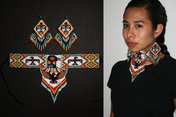 Native American Style Choker with Earrings, Tribal High Fashion Jewelry Set, Eagle Thunderbird Choker Necklace, Beaded Statement Choker