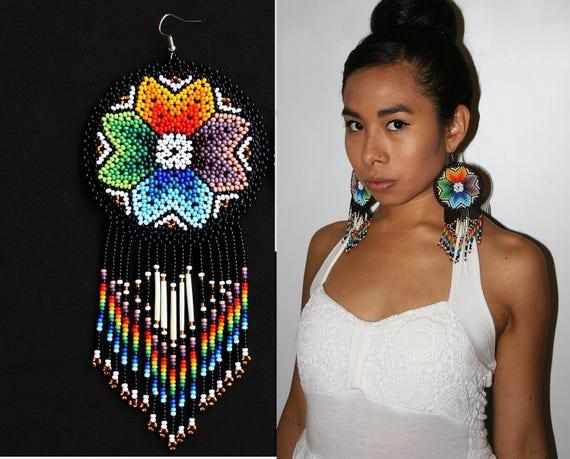 Boho Native American Style Beaded Earrings, Black Rainbow Starburst Earrings, Beaded Huichol Earrings, Large Medallion Earrings