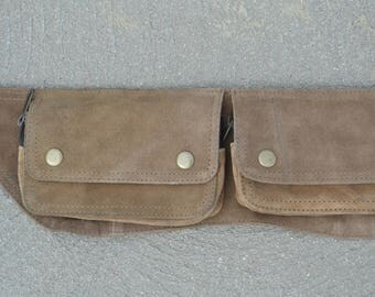 Burning Man utility belt - suede, 3 pockets