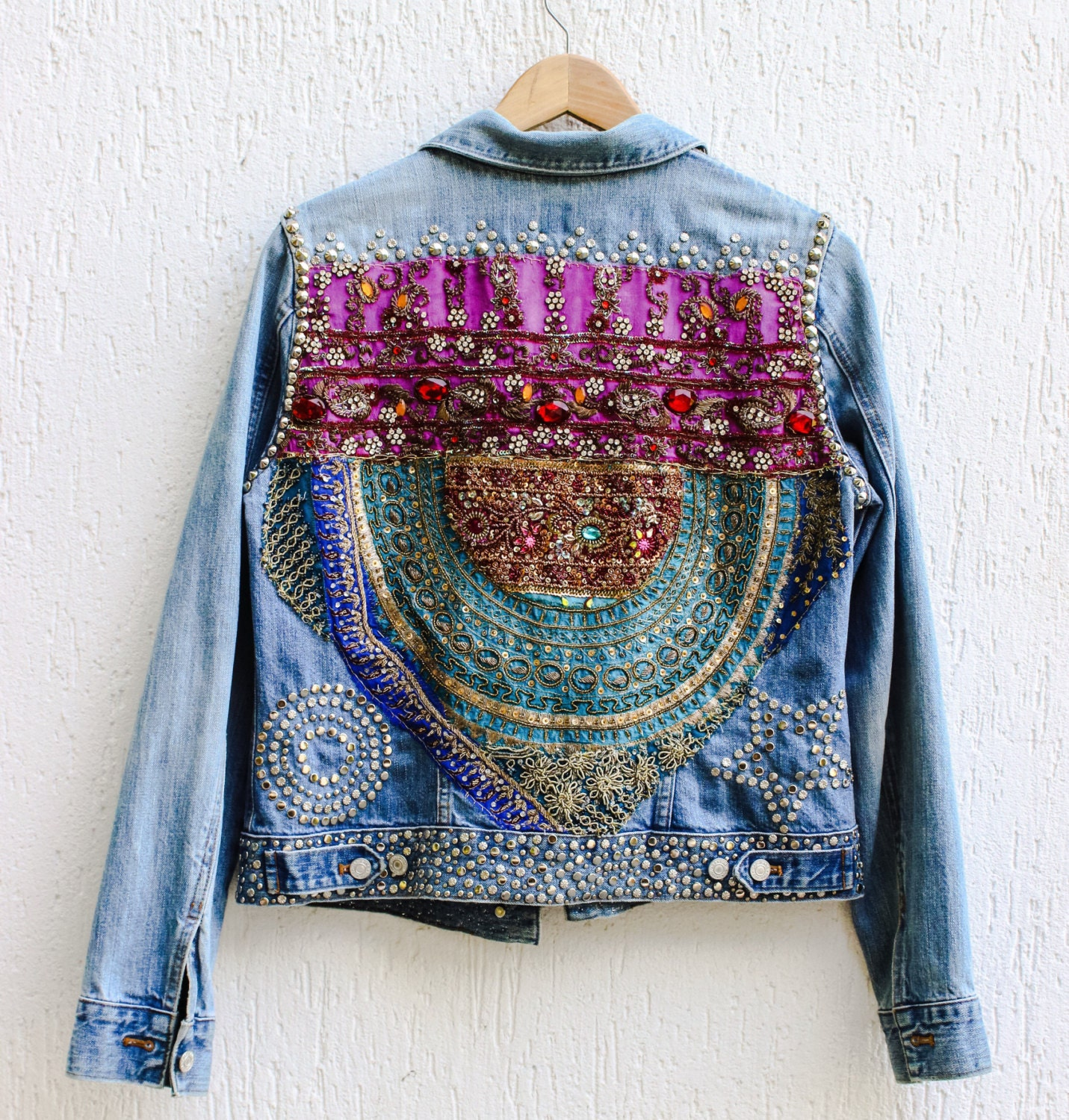 Boho jacket vintage embroidery jean embroidered