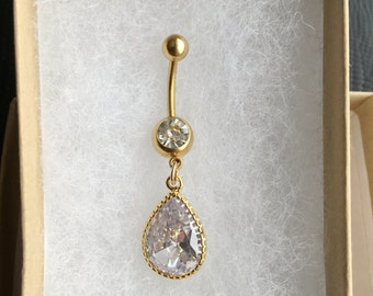 CZ belly button ring. Gold belly ring.