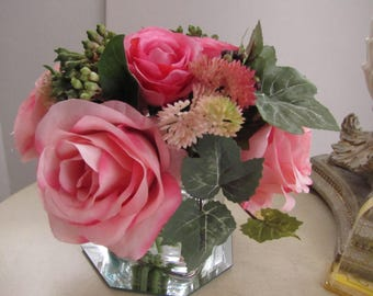 Wedding centerpiece Beautiful  Silk Flower Arrangement -Pink and Bright Pink Rose and ivy  in Square Glass Vase with Faux Water