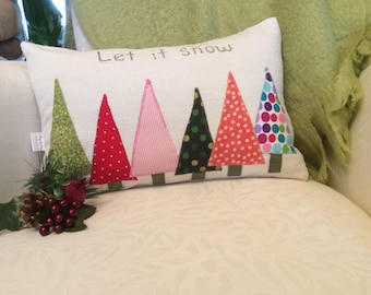 Christmas Tree Lumbar Brown Pillow Cover- appliqued polka